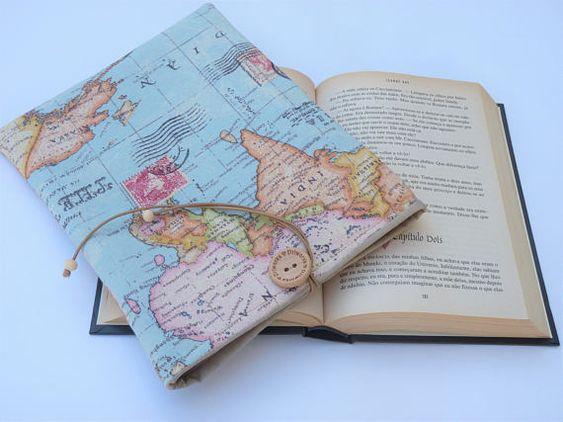 747b4eb72f Χειροποίητη θήκη βιβλίου χάρτης από ύφασμα για δασκάλα